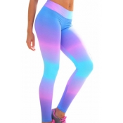 Leisure Elastic Waist Printed Polyester Leggings