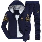 Leisure Hooded Collar Long Sleeves Embroidery Dark