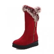 Stylish Round Toe Zipper Design Low Heel Red Suede