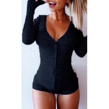 Sexy V Neck Long Sleeves Solid Black Polyester One-piece Skinny Jumpsuit