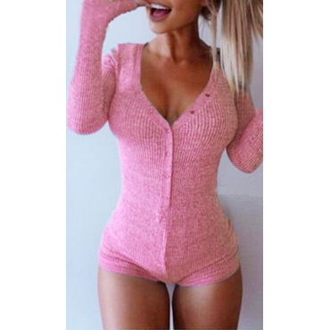 Sexy V Neck Long Sleeves Solid Pink Polyester One-piece Skinny Jumpsuit