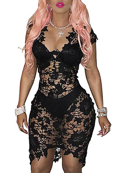 Sexy V Neck Cap Sleeves See-Through Black Lace Sheath Knee Length Dress