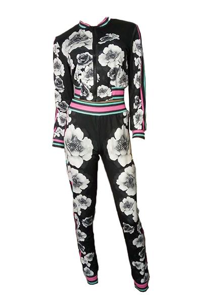 Euramerican Long Sleeves Print Black Polyester Two-piece Pants Set(Jacket+Pants)