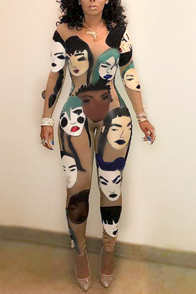 Euramerican Round Neck Long Sleeves Head Portrait Printed Qmilch One-piece Skinny Jumpsuits