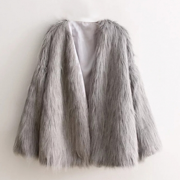 Trendy Round Neck Long Sleeves Grey Faux Fur Short Coat