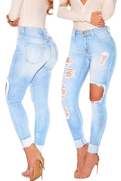 Sexy High Waist Broken Holes Blue Cotton Jeans