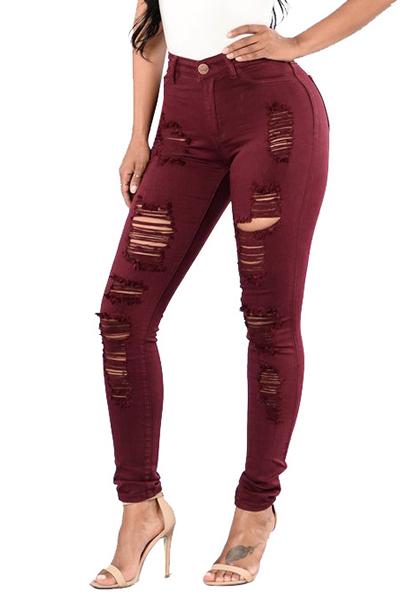 Euramerican High Waist Holes Design Red Cotton Jeans