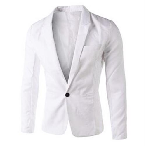 Stilvolle Turndown Kragen lange Ärmel einzigen Knopf Design weiß Baumwolle Blends Business Suit
