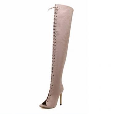 Enrugada na moda de Peep Toe-até oco-Stiletto Super High Heel Damasco Damasco Sobre O Joelho Botas