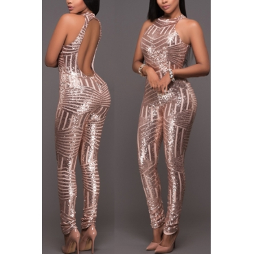 Sexy Round Neck Sleeveless Backless Champagne Sequined One-piece Skinny Jumpsuits