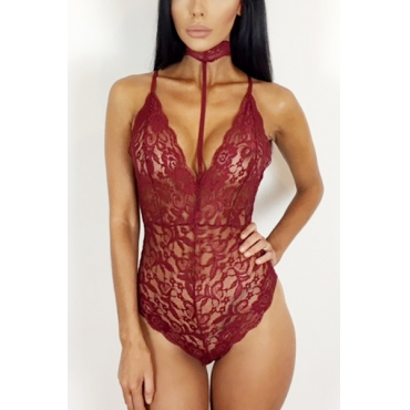 Sexy Halter V Neck Sleeveless See-Through Wine Red Lace One-piece Skinny Jumpsuits
