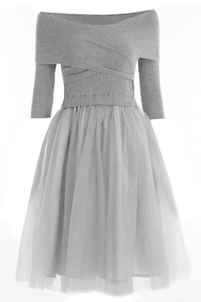 Knitting Bateau Neck Three Quarter Ball Gown Dresses