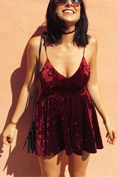 Sexy V Neck Spaghetti Strap Sleeveless Backless Velvet Mini Dress