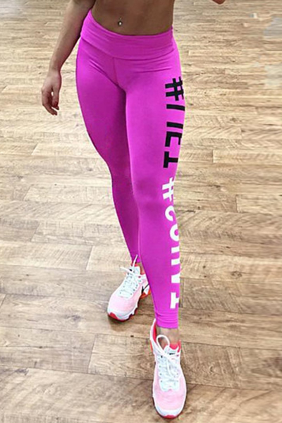 Casual High Waist Letters Printed Rose Red Cotton Leggings
