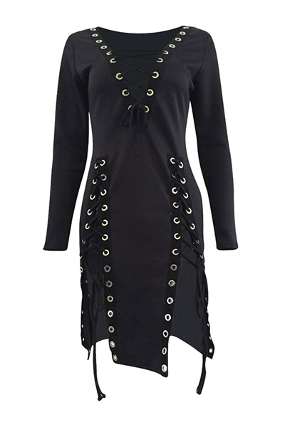 Sexy V Neck Long Sleeves Lace-up Hollow-out Black Healthy Fabric Mini Dress