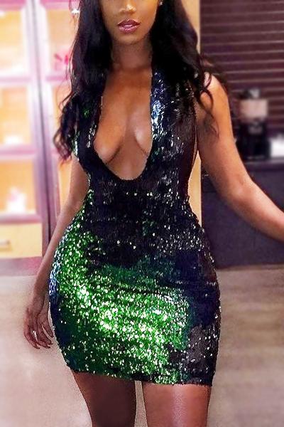 сексуальный глубокий V шеи без рукавов зеленый блестками оболочка мини-платье
