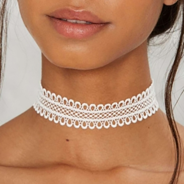 Contracted Style Lace Trim Hollow-out White Bud Silk Choker
