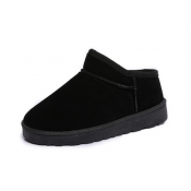 Casual Round Toe Low Heel Black Suede Slippers