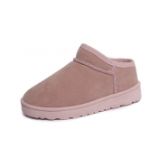 Casual Round Toe Low Heel Pink Suede Slippers
