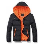 Stylish Hooded Collar Long Sleeves Black+Orange Pa