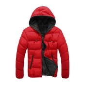 Stylish Hooded Collar Long Sleeves Red+Black Patch