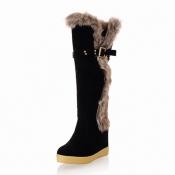 Winter Round Toe Patchwork Mid Heel Black Suede Mi