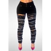 Стильная черная джинсовая ткань с высокой талией