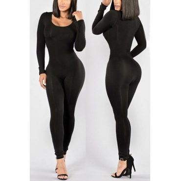 Contracted Style Round Neck Long Sleeves Black Qmilch One-piece Skinny Jumpsuits