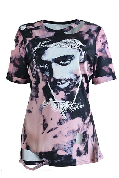 Euramerican Round Neck Short Sleeves Printed Asymmetrical Qmilch T-shirt
