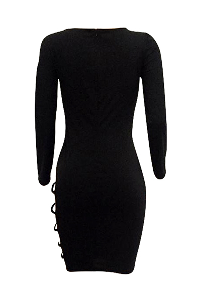 Sexy Long Sleeves Hollow-out Black Twilled Satin Sheath Knee Length Dress