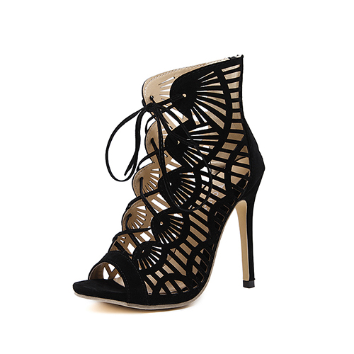 Stylish Round Peep Toe Hollow-out Stiletto Super High Black Suede Cross Strap Sandals