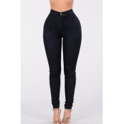 Stylish High Waist Black Denim Skinny Pants