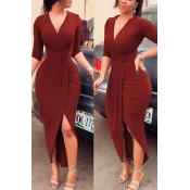 Sexy V Neck Half Sleeves Asymmetrical Red Polyester Sheath Mid Calf Dress