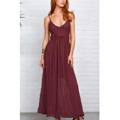 Lace Vintage V Neck Sleeveless Floor length Dresse