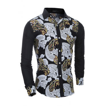 Ethnic Style Turndown Collar Long Sleeves Printed Patchwork Cotton Shirt for men