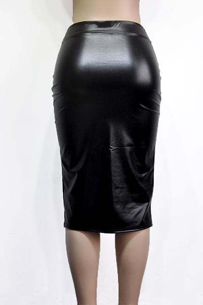 Falda de cuero sólido de la envoltura de la rodilla