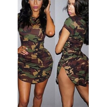 Leisure Round Neck Short Sleeves Camouflage Printed Polyester Sheath Mini Dress