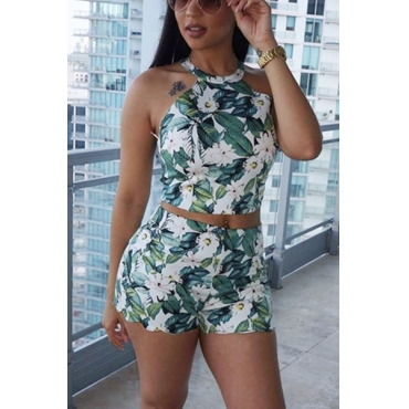 Euramerican Round Neck Sleeveless Floral Print Nylon Two-piece Shorts Set