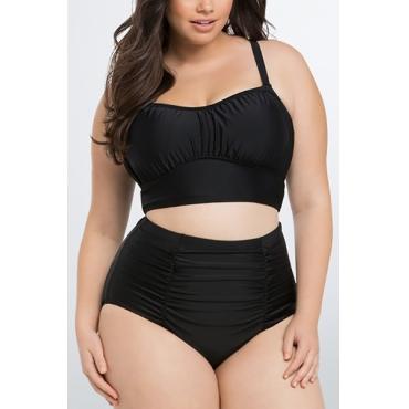 Sexy Spaghetti Strap Sleeveless Fold Design Black Ployester Two-piece Swimsuit