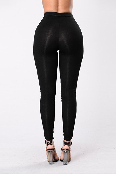 Elegante cintura alta Hollow-out Poliéster Black Leggings