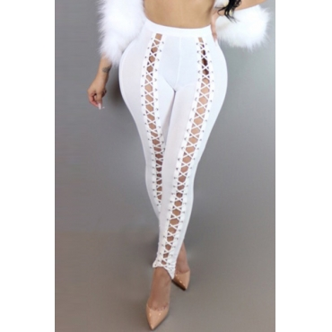 Sexy High Waist Hollow-out White Polyester Leggings