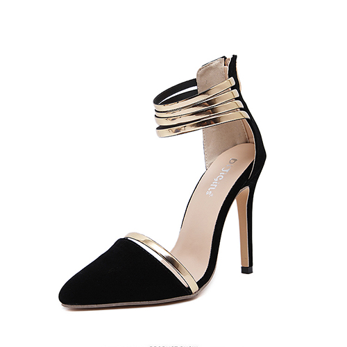 Stylish Pointed Closed Toe Hollow-out Stiletto Super High Heel Black Suede Basic Pumps