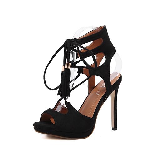 Suede Stiletto Super Alta Moda Cross Strap Sandálias