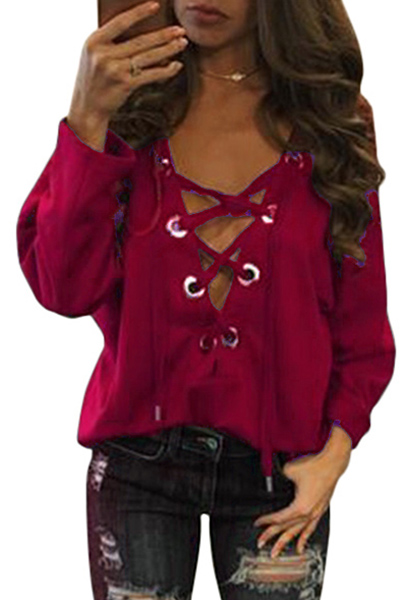 Sexy v neck long sleeves hollow out wine red cotton t for Red wine out of white shirt
