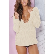 Acrylic V Neck Long Sleeve Regular Pullovers Sweat