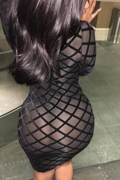 Cuello redondo sexy manga larga hollow-out negro de poliéster vaina vestido de longitud de la rodilla