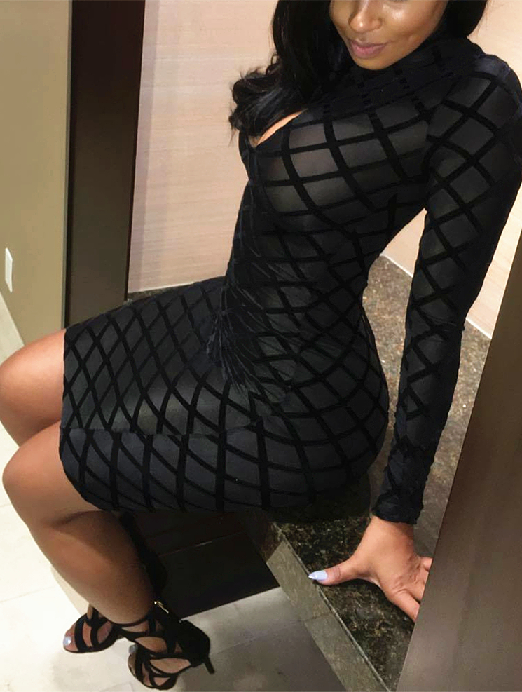 Sexy Round Neck Long Sleeves Hollow-out Black Polyester Sheath Knee Length Dress