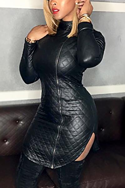 Trendy Turtleneck Long Sleeves Zipper Design Black Leather Mini Dress