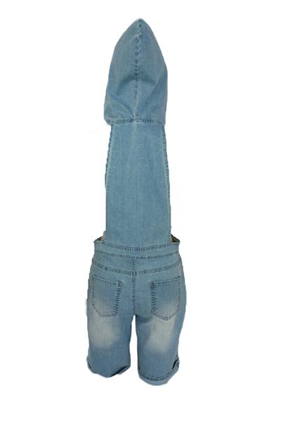 Cuello con capucha sexy mangas cortas Hollow-out Denim azul de una pieza de mono suelto