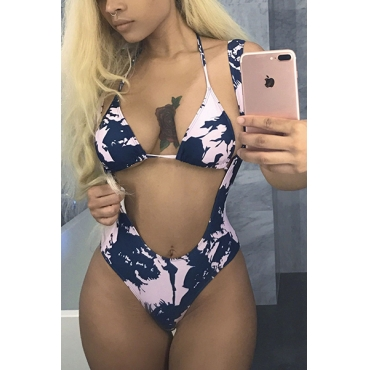 Sexy Printed Polyester+Spandex Swimwear(Two-piece)